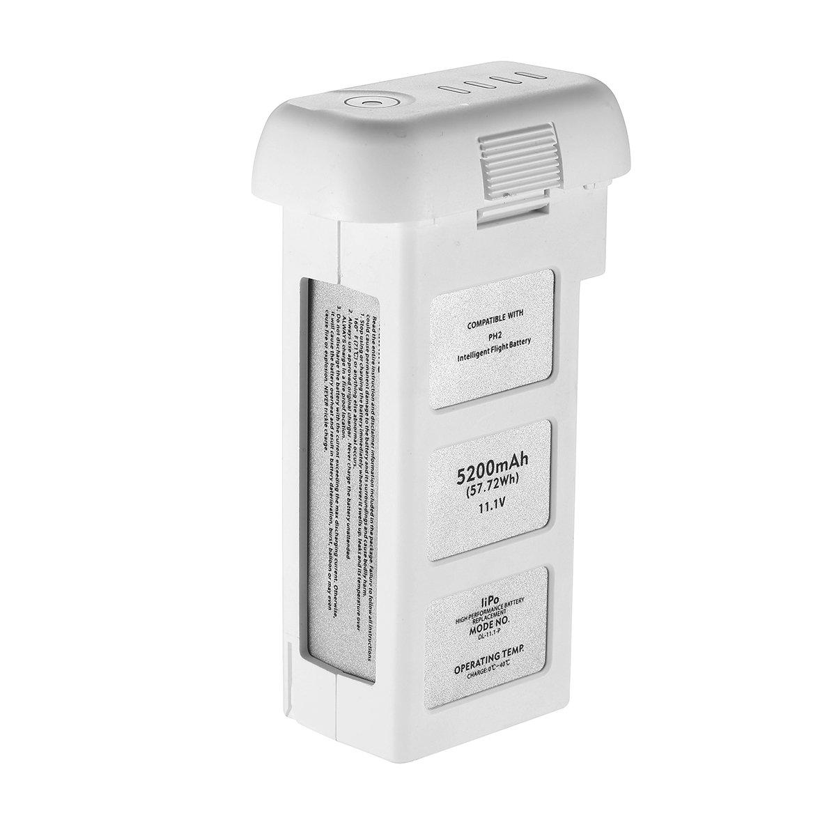 Powerextra 11.1V 5200mAh 10C LiPo Intelligent Flight Battery Replacement for DJI Phantom 2, Phantom 2 Vision and Phantom 2 Vision Plus - Upgraded
