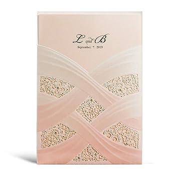 Wishmade 1pcs Pink Laser Cut Wedding Invitations Cards Gradual Blush Floral Design Printable Invites