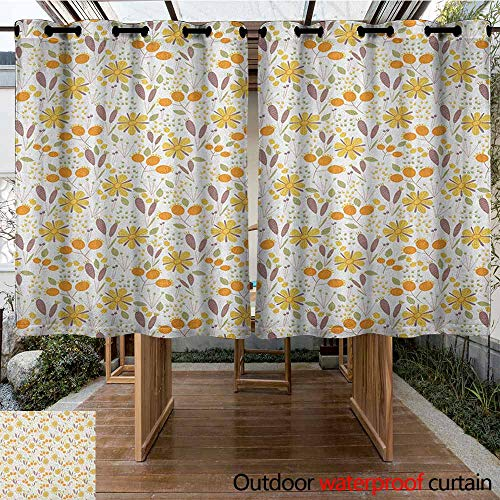 AndyTours Outdoor Window Curtains,Floral,Autumn Field Gardening Bedding Plants Cottage Yard Fall Foliage Hand Drawn Motif,Energy Efficient, Room Darkening,K140C115 Multicolor (Floral Fields Valance)