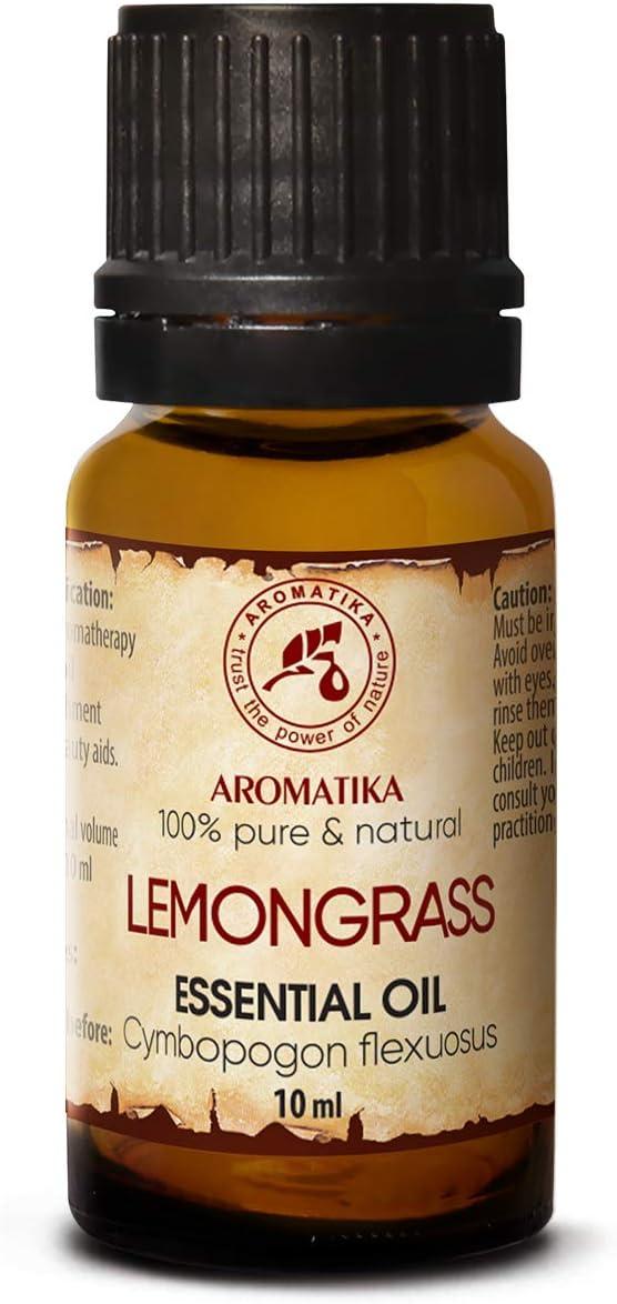 Lemongrass Aceite Esencial 10ml - Cymbopogon Flexuosus - India - 100% Natural & Puro - Para Aromaterapia - Para la Salud - Relajación - Masaje - Difusor de Aroma - Lámpara de Aroma