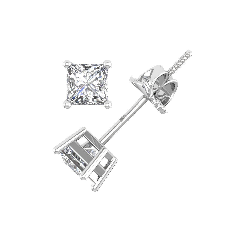 IGI Certified 14K White Gold Princess Cut Diamond Stud Earrings (0.55 Carat)