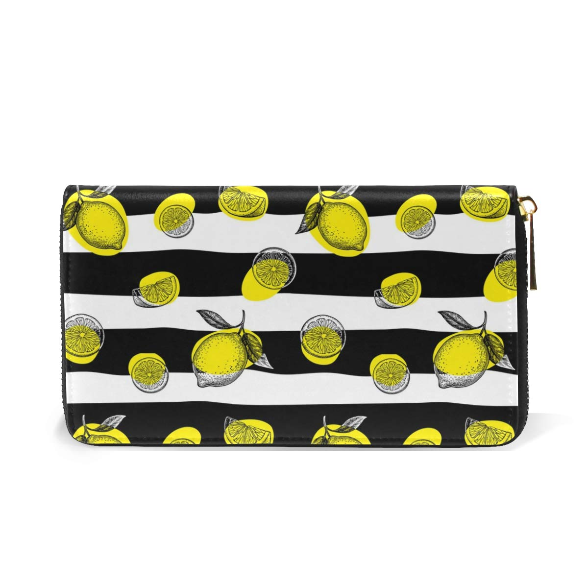 Scary Striped Zombie Lemon Super Leather Zipper Wallet For Woman Simple Wallet Durable And Beautiful at Amazon Womens Clothing store: