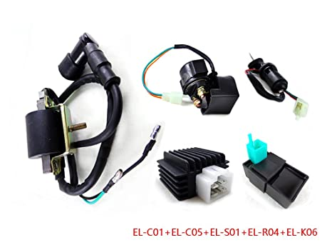 function Switch 50cc 70cc 110cc 125cc Atv Quad Electric Full Set Parts+wire+cdi+ignition Coil+rely+rectifier+key Spark Plug
