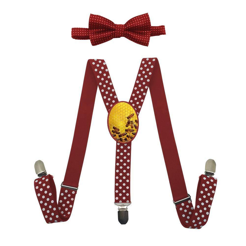 Qujki Lovely Animal Bee Honeycomb Suspenders Bowtie Set-Adjustable Length