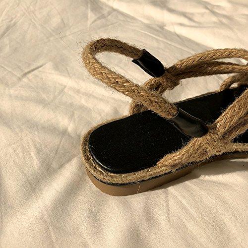 Apricot Vacances Plat Plage Vent Cool XINGGUANG Weaving Apricot 37 Chaussures Cross DADAQQ C 37 qCwxAZ6wv