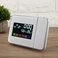 Projection Function Projection Alarm Clock, USB Charger LED Weather Projector, Practical for Bedroom Home(White)
