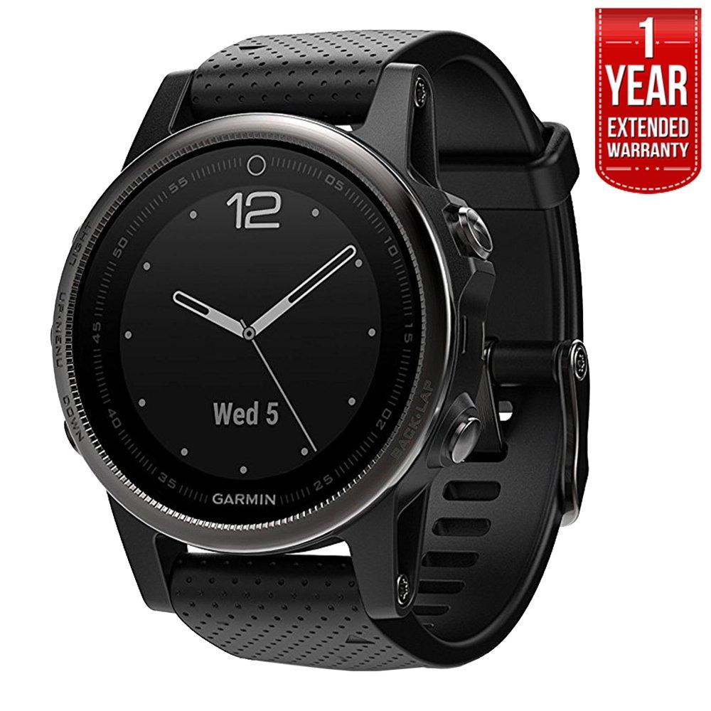 Garmin Fenix 5S Sapphire Multisport 42mm GPS Watch - Black with Black Band (010-01685-10) + 1 Year Extended Warranty