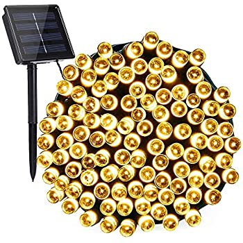 Toodour Solar Christmas Lights, 72ft 200 LED 8 Modes Solar String Lights, Waterproof Solar Fairy Lights for Garden, Patio, Home, Holiday, Party, Outdoor Christmas Decorations (Warm White)