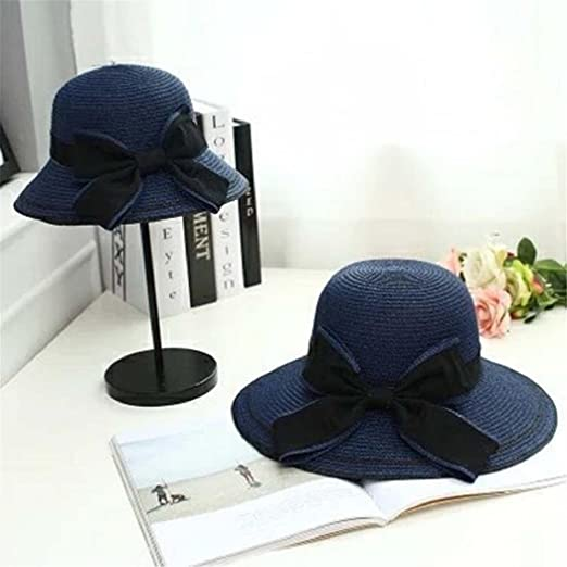 288ebe0ca69eed Amazon.com: ShenPourtor Women/Lady Summer Cool Wide Brim Straw Sun Hat  Floppy Foldable WIth Big Butterfly Band (Khaki): Toys & Games