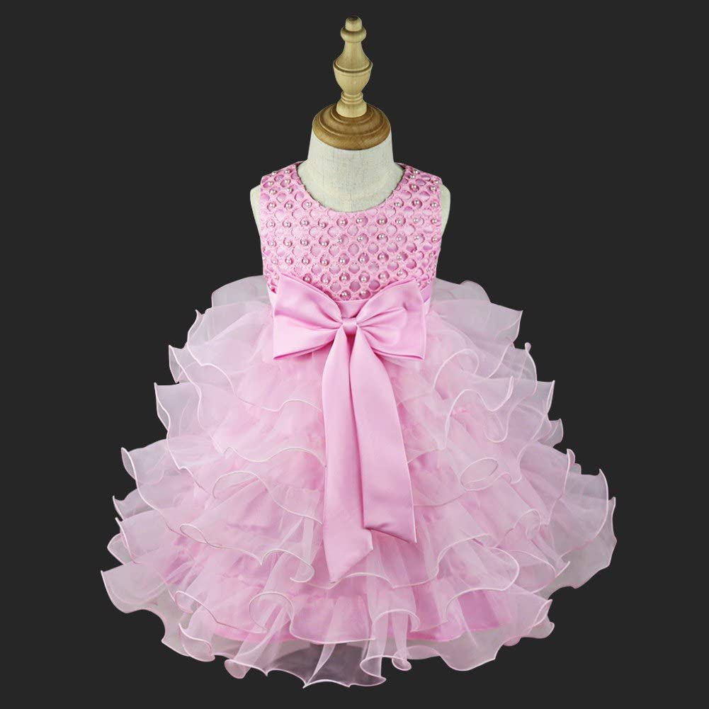 TiaoBug Toddler Baby Girls Flower Ruffled Princess Bowknot Wedding Pageant Christening Baptism Communion Party Dress