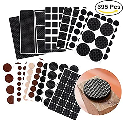 395Pcs Non Slip Furniture Pads, Furniture Gripper Floor Protectors Self Adhesive Pads Furniture Stoppers for Hardwood and Laminate Flooring