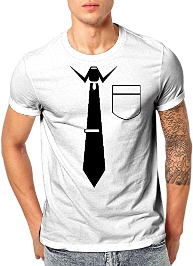 SANGQU Mens Funny Tops Tee 3D Printed Tie Graphic Short Sleeve Casual T-Shirt