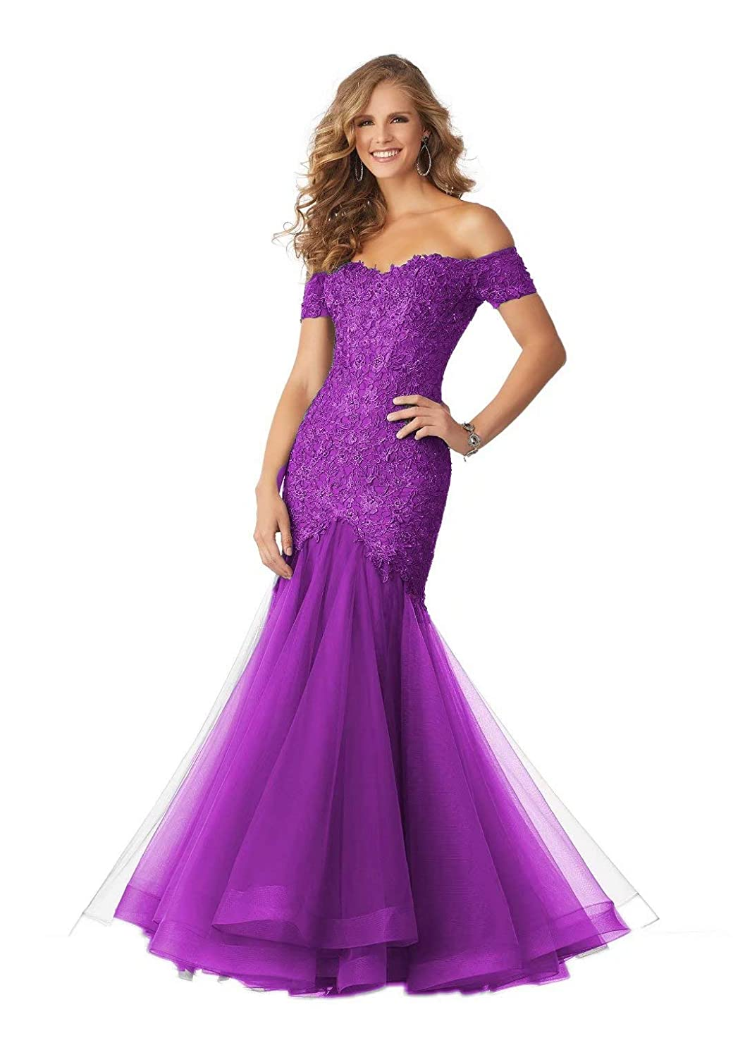 color 4 Unions Women's Off Shoulder Sexy Mermaid Long Formal Dresses Tulle Lace Applique Evening Prom Gown