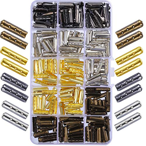 Boao 200 Pieces 3 Holes Shoelace Tip Head Metal Aglets Replacement Tips for Canvas Sneakers DIY Repairing, Assorted Colors and 20 mm Length