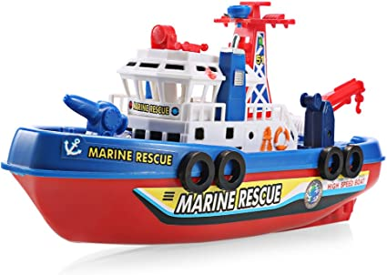 Electric Music Light Ship Marine Rescue Fire Fighting Boat Toy For Kids Gift