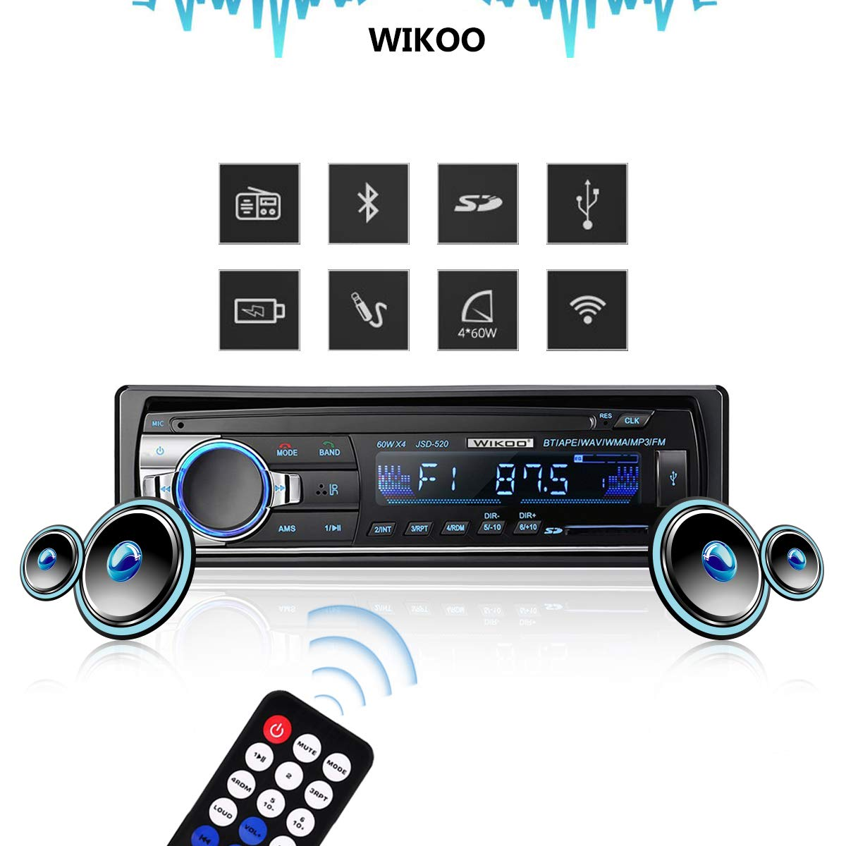 Digital Car Stereo - Wikoo Single-Din Bluetooth Car Stereo In Dash with Remote Control - Receivers USB/SD/Audio - MP3 Player/FM Radio, Supports Hands Free Calling