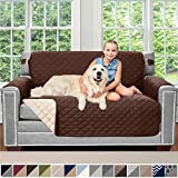 Sofa Shield Original Patent Pending Reversible Loveseat Slipcover, Dogs, 2' Strap/Hook, Seat Width Up to 54' Washable Furniture Protector, Couch Slip Cover for Pets, Kids (Love Seat: Chocolate/Beige)