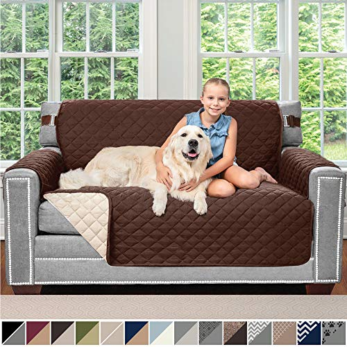 Chocolate Loveseat Slipcover - Sofa Shield Original Patent Pending Reversible Loveseat Slipcover, Dogs, 2