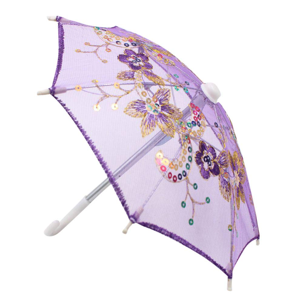 Stheanoo Miniature Flower Umbrella Accessories Toys for Girls 18 inches Colorful Cute Simulation Dolls Handmade Gift Doll House Ornaments (Purple)