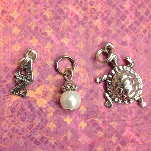 Sorority Greek Delta Zeta Essential Trio of Charms - lavaliere, turtle mascot, white glass pearl dangle