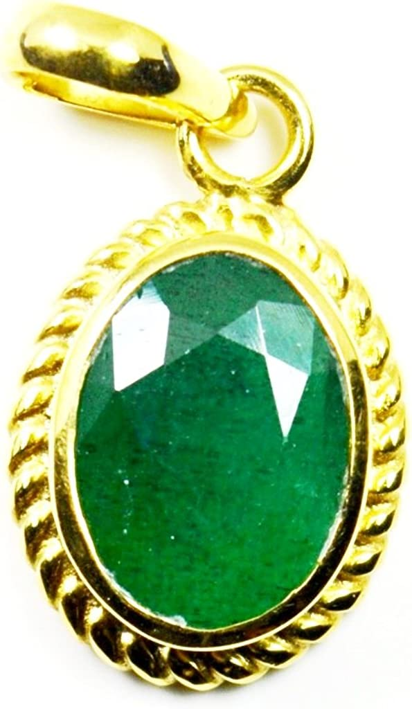 Jewelryonclick Naturel /Émeraude 5/carats Panchdhatu Plaqu/é or Pierre de naissance Pendentif Charms