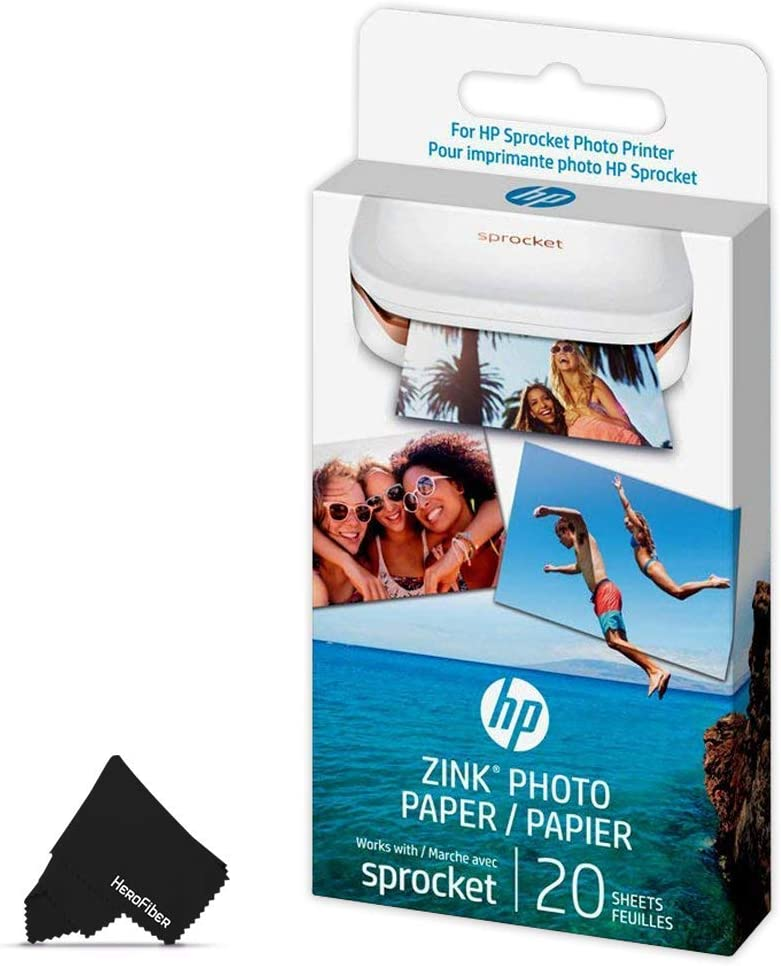 HeroFiber 1 Pack HP Sprocket Photo Paper, 20 Sticky-Backed Sheets Total, Exclusively for HP Sprocket Portable Photo Printer, (2x3 inch) + Herofiber Microfiber Cloth
