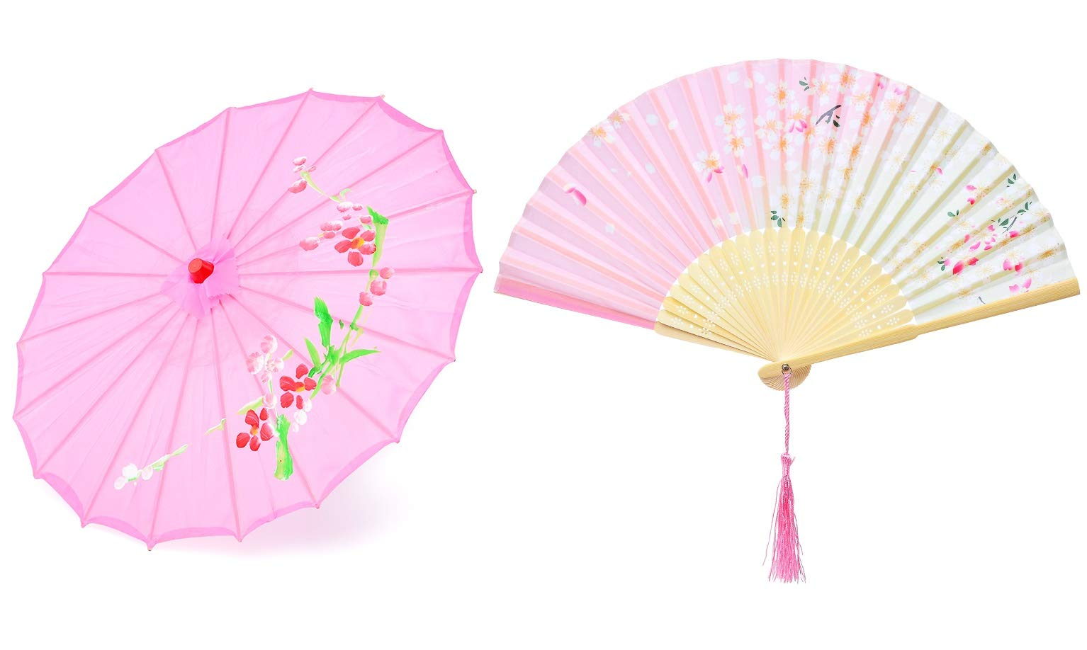 Hand made 22-inch Japanese oriental parasol dancing umbrella with hand held silk folding fans for kids(Pink)