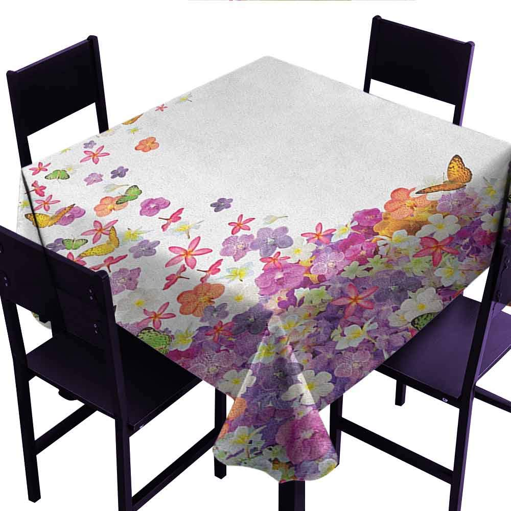 Wendell Joshua Fashions Table Cloth Floral,Butterflies Narcissus Flowers Violets and Pansies Pouring Out from Old Watering Can,Multicolor,Dinner Kitchen Home Decor 70''x70''inch by Wendell Joshua