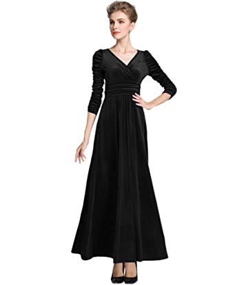 Medeshe Womens Christmas Long Sleeve V Neck Velvet Maxi Dress