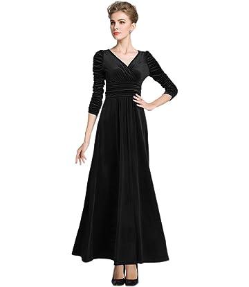 medeshe womens christmas long sleeve v neck velvet maxi dress