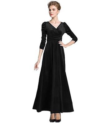 034d7db28493 MedeShe Women's Christmas Long Sleeve V Neck Velvet Maxi Dress (4/6, Black