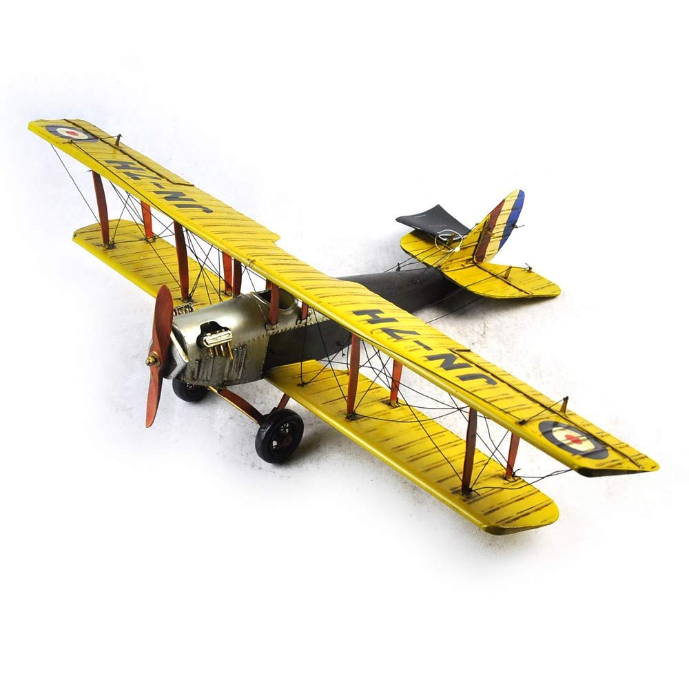 VJUKUBWINE Antique World War I Yellow Curtis Jane Plane - Fine Edition Model Tinplate Hand Made Retro Iron Art Home Car Decoration Decoration Arrangement Photography Props 6846.516cm
