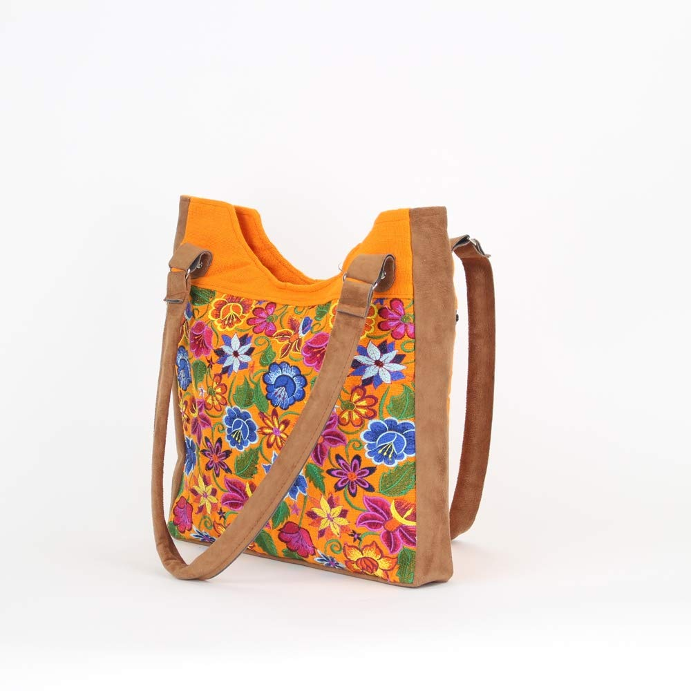 Boho tote bag boho bags boho purses and bags mexican suede bags mexican  embroidery orange handmade a738006a17f81