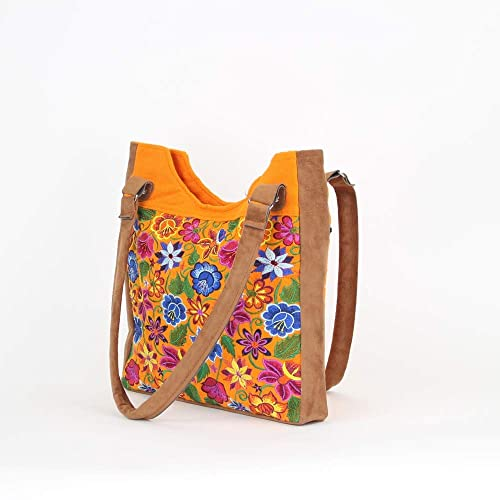 Amazon.com  Boho Tote Bag - Boho Bags - Boho Purses and Bags - Mexican  Suede Bags - Mexican Embroidery - Orange  Handmade a8a85eec24de7