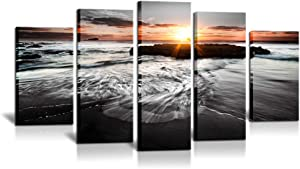 5 Panels Large Sea Sunrise Paintings on Canvas Wall Art Modern Seascape Pictures Black and White Ocean Beach Photos Giclee Prints Artwork for Living Room Home Office Wall Decor