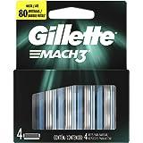 Gillette Mach 3, Carga para Aparelho de Barbear, 4 unidades, A embalagem pode variar