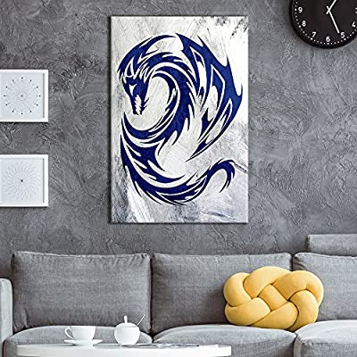 Canvas Wall Art - Blue Dragon Pattern on Grunge Background - Giclee Print Gallery Wrap Modern Home Art Ready to Hang - 12x18 inches