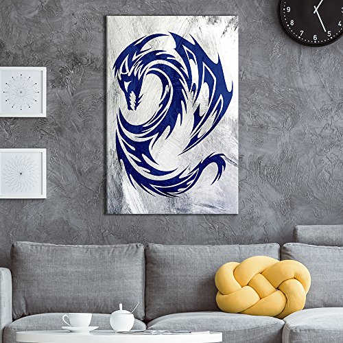 Dragon Art Prints - wall26 - Canvas Wall Art - Blue Dragon Pattern on Grunge Background - Giclee Print Gallery Wrap Modern Home Decor Ready to Hang - 24x36 inches