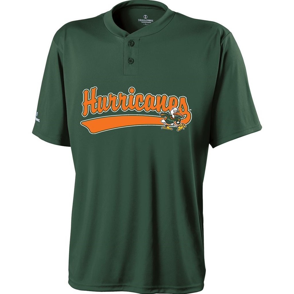 Holloway Miami Hurricanes Ball Park Jersey (Youth Medium, Green/Orange) by Holloway
