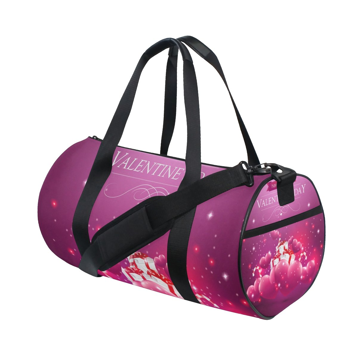 U LIFE Happy Valentines Day February 14Th Love Heart Sports Gym Shoulder Handy Duffel Bags for Women Men Kids Boys Girls
