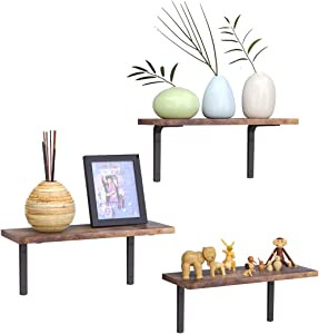 Lemonidea Floating Shelves Set of 6 Home Decor Wall Mounted Rustic Retro Storage Shelf Rack for Office Bedroom Living Room (Brown)