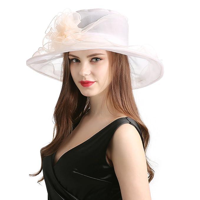 Women s Organza Church Kentucky Derby Fascinator Tea Party Wedding Hat Beige e3b0d253a06