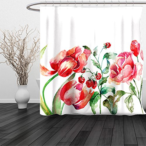 HAIXIA Shower Curtain Watercolor Queen Size Grunge Inspired Botanical Arrangement of Fruits and Flowers Ecology 3 with 2 Shams Rose Red Jade Green 2 66x72