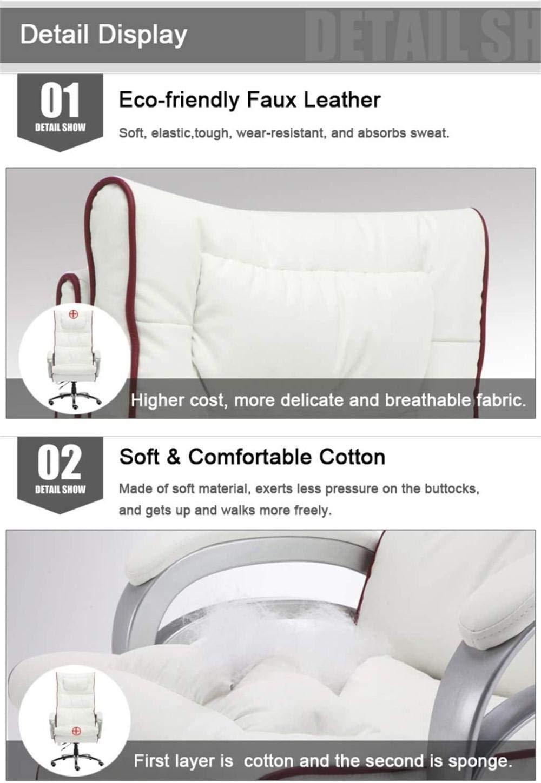 Liggande falskt läder dator kontorsstol med fotstöd ländrygg stöd massage hög rygg skrivbord arbete svängbar stol knästol (färg: Vit + röd) Brun