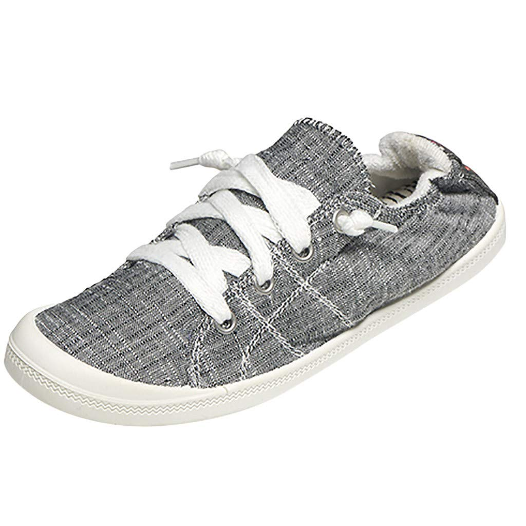 Hunauoo Canvas Sneakers for Women Modern Classic Breathable Slip-On Cross-Tied Lace-Up Ankle Shoes Gray by Hunauoo Shoes