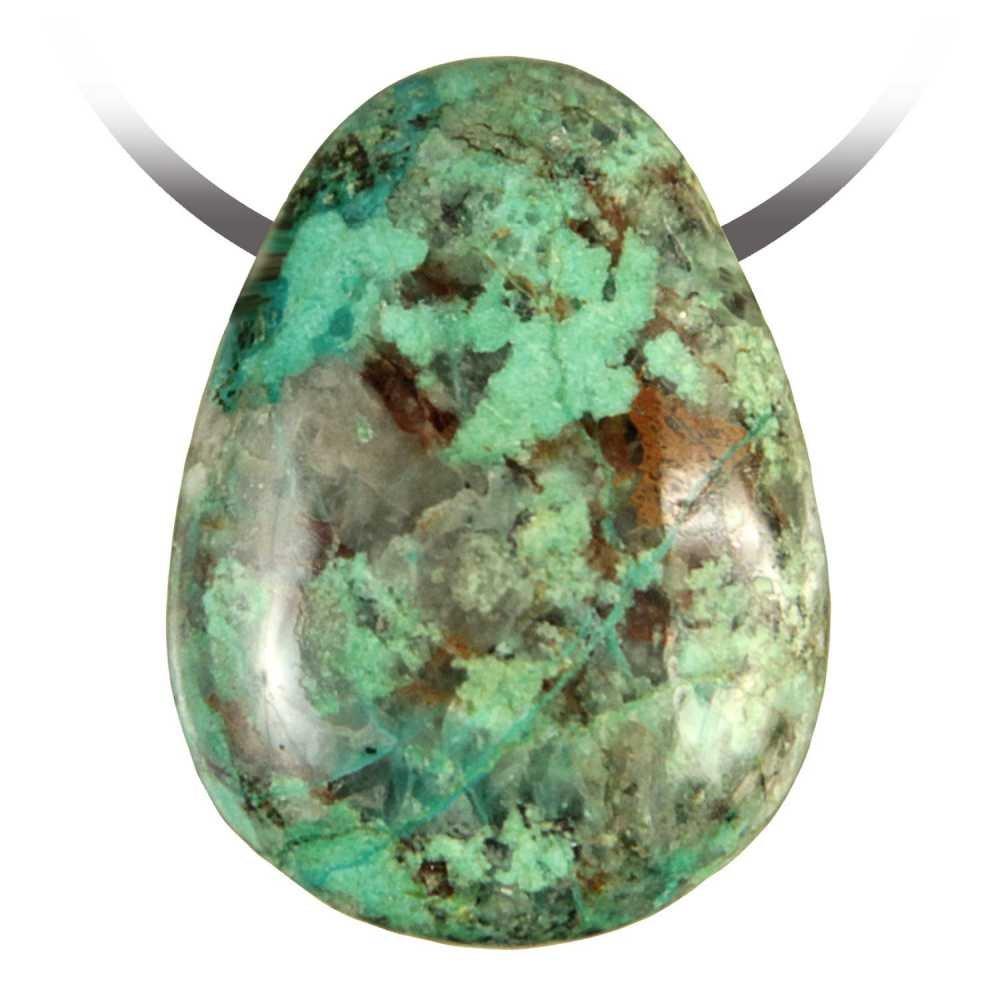 Naturosph/ère Pendentif goutte pierre perc/ée en chrysocolle Bijoux naturels C17