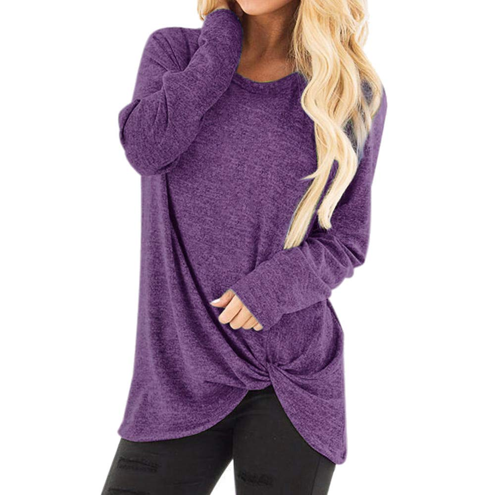 Women's Casual O Neck Long Sleeve Shirt Knot Side Twist Knit Tunic Tops Blouses
