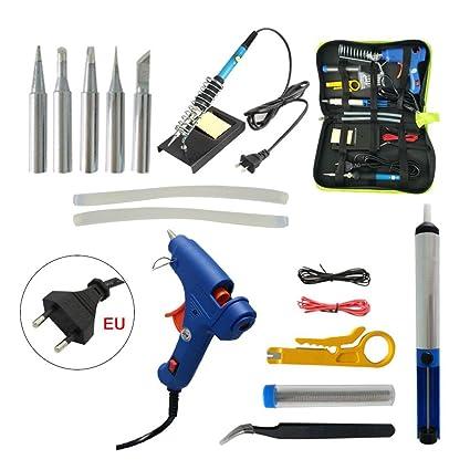16 en 1 Soldador de Estaño Electrónica Profesional Soldador Kit 60w Temperatura Ajustable 200°C