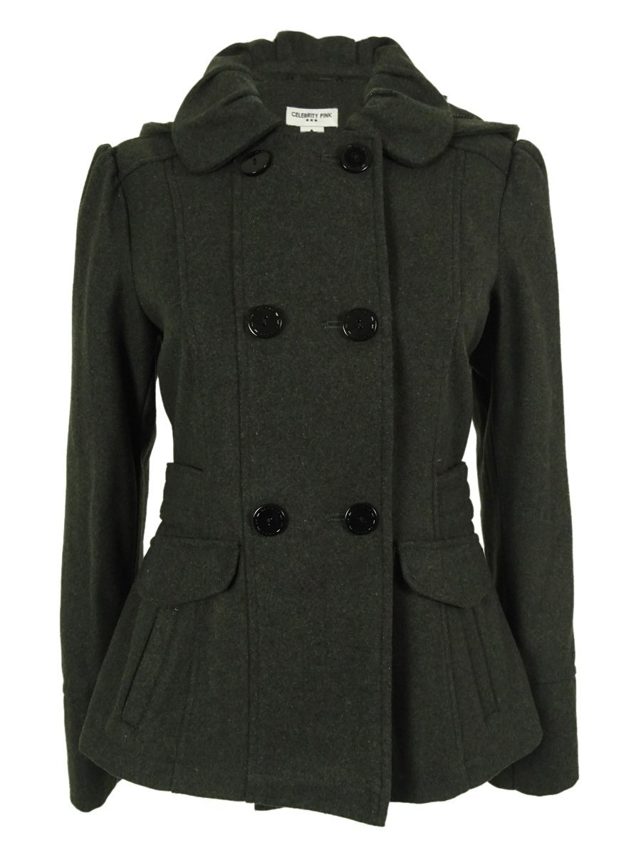 Celebrity Pink Juniors Double Breasted Peacoat (XL, Charcoal)