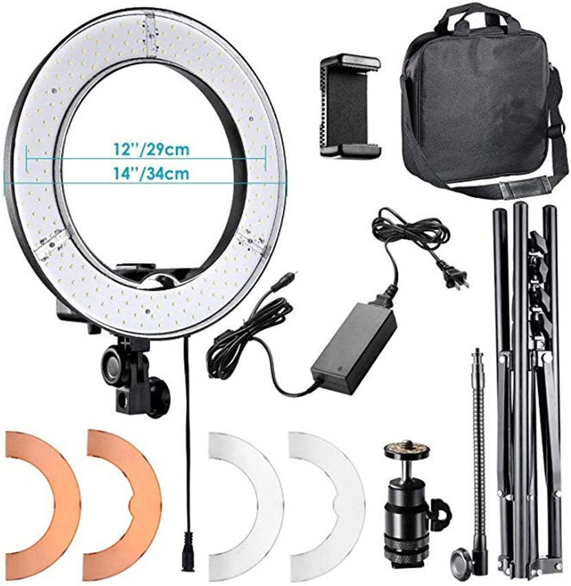 Ring Lighting Kit with Stand Photography Photo Studio Light for Makeup Camera Smartphone YouTube Video Shooting H0168 QFXFL 14Inch Dimmable Led Ring Light
